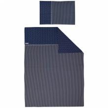 parure de lit housse de couette et taie d oreiller bleu marine toile et rayure 120 x 150 cm. Black Bedroom Furniture Sets. Home Design Ideas