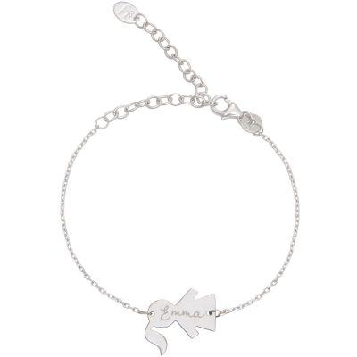 Bracelet Fille sur chaîne personnalisable (argent 925°)  par Merci Maman