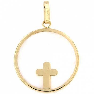 Médaille Croix épaisse (or jaune 750° et nacre)  par Aubry-Cadoret