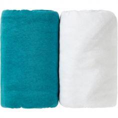 Lot de 2 draps housse bleu canard Tropical et blanc (70 x 140 cm)