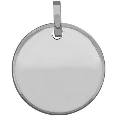 Médaille ronde unie à graver 14 mm (or blanc 750°)  par Premiers Bijoux
