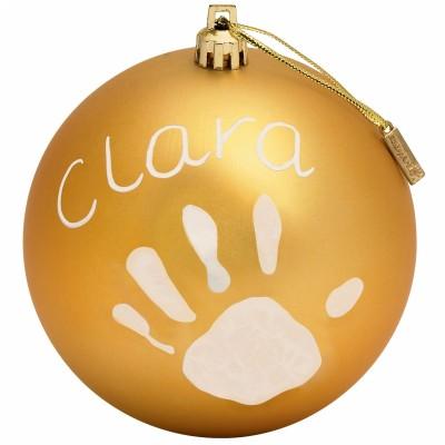 Boule de Noël décorative or avec kit empreinte  par Baby Art