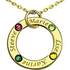 Pendentif anneau avec Swarovski (or jaune 750°)