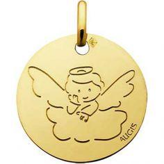 Médaille Ange auréole sur un nuage 14 mm personnalisable (or jaune 750°)