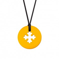 Collier cordon médaille Mini Croix Occitane 10 mm (or jaune 750°)