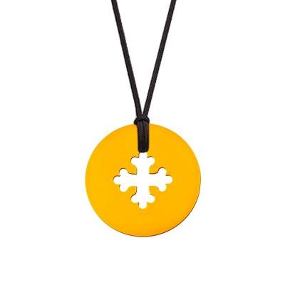 Collier cordon médaille Mini Croix Occitane 10 mm (or jaune 750°) Maison La Couronne