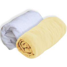 Lot alèse et drap housse jaune paille (60 x 120 cm)
