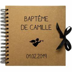 Album photo baptême personnalisable kraft et noir (20 x 20 cm)
