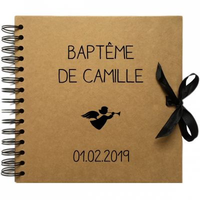 Album photo baptême personnalisable kraft et noir (20 x 20 cm) Les Griottes