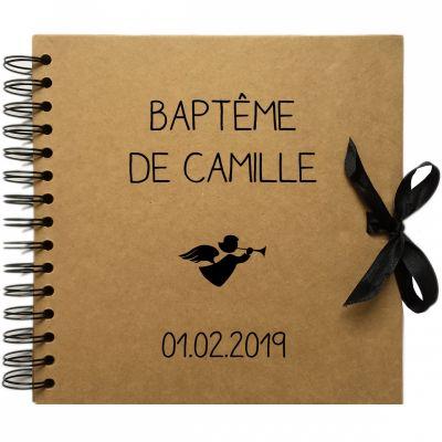 Album photo baptême personnalisable kraft et noir (20 x 20 cm)  par Les Griottes