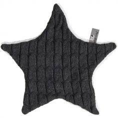 Doudou plat étoile Cable Uni gris anthracite (30 cm)