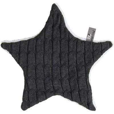 Doudou plat étoile Cable Uni gris anthracite (30 cm)  par Baby's Only