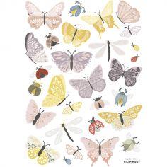 Planche de stickers A3 Papillons et insectes