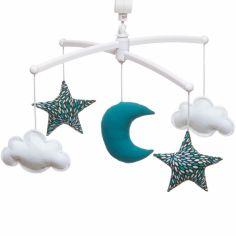 Mobile musical lune bleu paon (mélodie au choix)