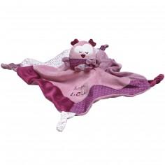 Doudou plat chouette Mam'zelle Bou violette (34 cm)