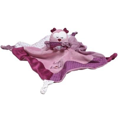 Doudou plat chouette Mam'zelle Bou violette (34 cm)  par Sauthon Baby Déco