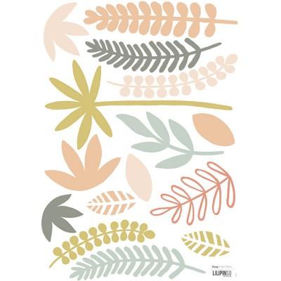 Planche A3 de stickers feuillages corail  par Lilipinso
