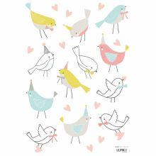 Stickers A3 oiseaux Sweet Bunnies by Flora Waycott (29,7 x 42 cm)  par Lilipinso