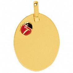 Plaque coccinelle laquée (or jaune 750°)