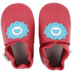 Chaussons en cuir Soft soles rouge dolie (9-15 mois)