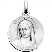 Médaille Vierge Maris Stella (ronde)  (or blanc 750°) - Becker