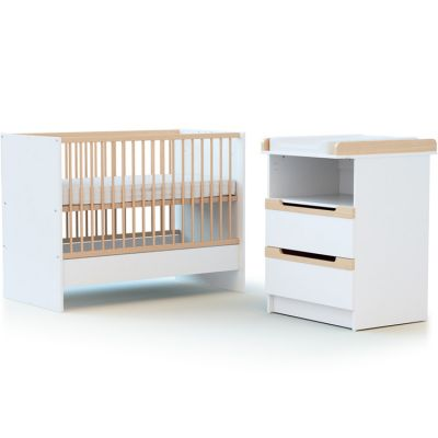Pack duo lit bébé évolutif et commode à langer en bois de hêtre verni Carrousel blanc AT4