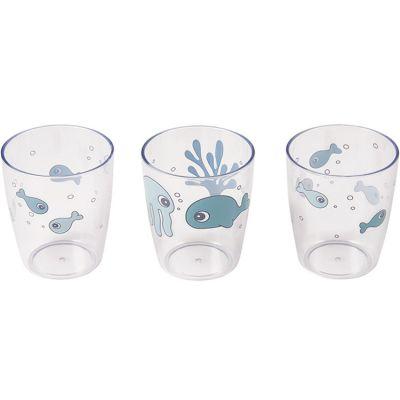 Lot de 3 gobelets Yummy Sea Friends bleu (120 ml)  par Done by Deer