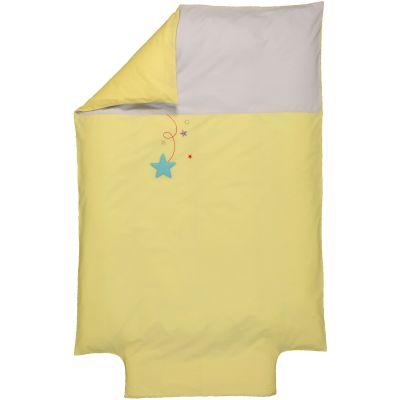 Housse de couette bébé en coton bio Pluie d'étoiles jaune clair (100 x 140 cm)  par P'tit Basile