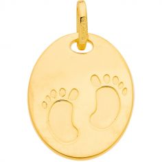 Pendentif ovale empreintes petits pieds 16 mm (or jaune 375°)
