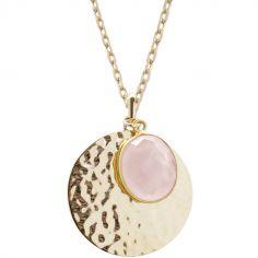Collier médaille martelée et quartz rose chaîne 50 cm personnalisable (plaqué or)