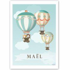 Affiche A4 Les jolies montgolfières (personnalisable)