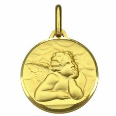 Médaille ronde Ange de Raphaël 14 mm (or jaune 750°)