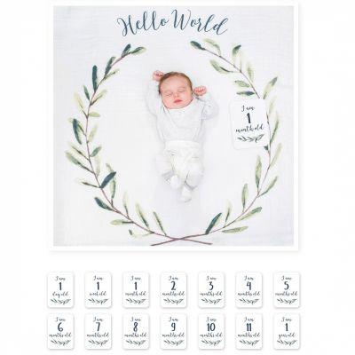 Cartes étapes de bébé + maxi lange Hello World (7 cartes recto verso)  par Lulujo