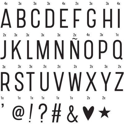 Assortiment de lettres noires pour lightbox