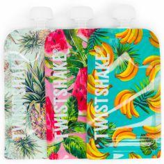 Lot de 3 gourdes réutilisable Squeeze bag fruit (220 ml)
