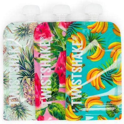 Lot de 3 gourdes réutilisable Squeeze bag fruit (220 ml)  par Twistshake