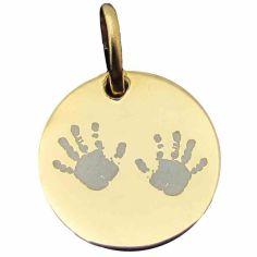 Médaille de naissance Deux mains (plaqué or jaune)