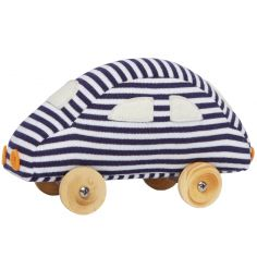 Petite voiture à roulettes marinière (13 cm)