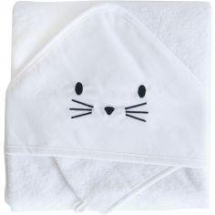 Cape de bain + gant chat blanc (75 x 75 cm)