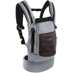 Porte-bébé PhysioCarrier gris et café avec pack réhausseur et cale-tête