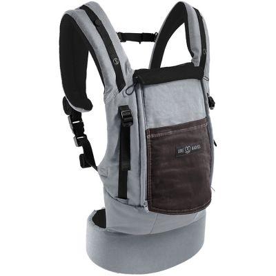 Porte-bébé PhysioCarrier gris et café avec pack réhausseur et cale-tête  par Je Porte Mon Bébé / Love Radius