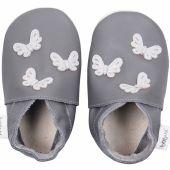 Chaussons en cuir Soft soles papillons gris (21-27 mois) - Bobux