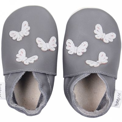 Chaussons en cuir Soft soles papillons gris (21-27 mois)  par Bobux