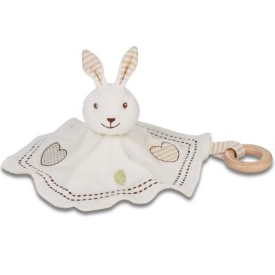 Doudou lapin avec anneau bois EverEarth