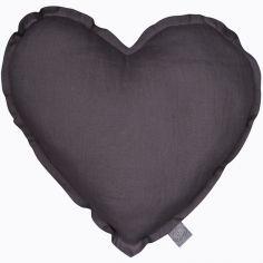 Coussin coeur gris graphite (40 cm)