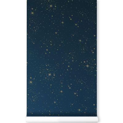 Papier peint bleu nuit Gold stella  par Nobodinoz