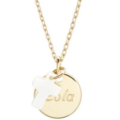 Collier enfant médaille et croix en nacre personnalisable (plaqué or)  par Petits trésors