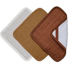 Lot de 3 débarbouillettes ocre et blanc Wood (22 x 22 cm)