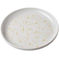 Assiette plate Yummy Contour gris et or