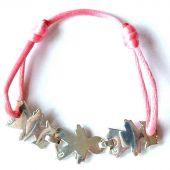 Bracelet cordon 3 enfants 17 mm (argent 925°) - Loupidou